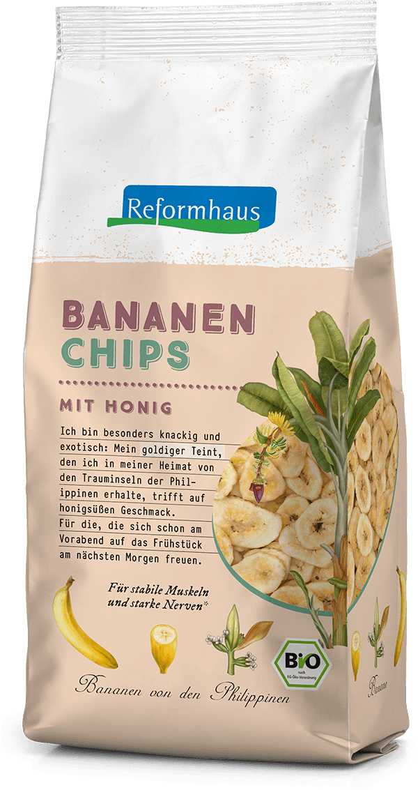 Bananenchips mit Honig : Reformhaus Produkt Packshot