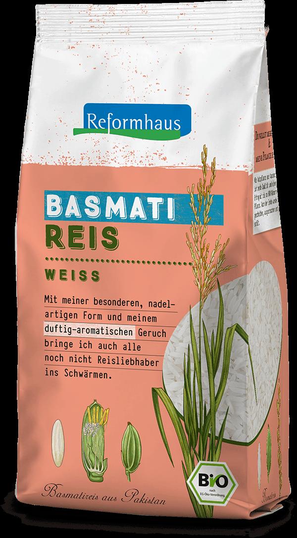 Basmati Reis Weiss : Reformhaus Produkt Packshot